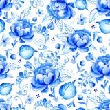 抽象与民间艺术的水彩花卉无缝的样式开花 蓝色白色装饰品 与青白的花,叶子, c的背景 免版税库存照片