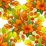 抽象与花卉元素的高雅无缝的样式 库存照片