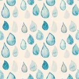 抽象与雨的水彩无缝的样式投下蓝色和wh 免版税库存照片