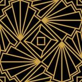 抽象与风格化壳的传染媒介无缝的艺术装饰样式 在黑背景的金黄装饰品 库存照片