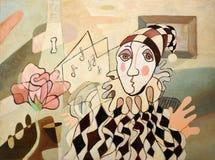 抽象丑角绘画 免版税库存照片