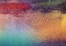 抽象丙烯酸酯和水彩掠过冲程被绘的背景 库存图片
