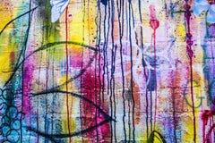 抽象丙烯酸酯的背景现代绘画片段 五颜六色的r 免版税库存照片