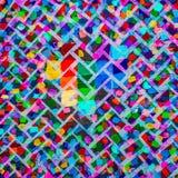 抽象丙烯酸酯的画布原始绘画 砖明亮的墙壁 背景 免版税图库摄影