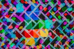 抽象丙烯酸酯的画布原始绘画 砖明亮的墙壁 背景 免版税库存照片