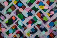 抽象丙烯酸酯的画布原始绘画 砖明亮的墙壁 背景 库存图片