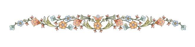 抽象东方植物叶子和花框架装饰的典雅式样 皇族释放例证