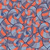抽象乱画模式无缝的贝壳 库存图片