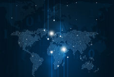 抽象二进制编码地图蓝色背景 库存照片
