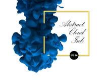 抽象云彩墨水 蓝色颜色和黄色边界 水性涂料, a 免版税库存图片