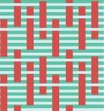 抽象五颜六色的与块元素的条纹传染媒介无缝的样式 表面样式设计 库存例证