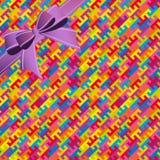 抽象五颜六色的几何无缝的样式背景whis丝带 免版税图库摄影
