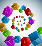 抽象五颜六色的多维数据集螺旋 免版税库存图片