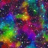 抽象五颜六色的宇宙,星云夜满天星斗的天空,多色外层空间,太空星群的纹理背景,无缝的例证 库存照片