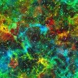 抽象五颜六色的宇宙,星云夜满天星斗的天空,多色外层空间,太空星群的纹理背景,无缝的例证 向量例证