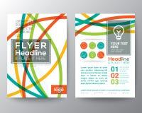 抽象五颜六色的弯曲的线形海报小册子飞行物设计 免版税图库摄影