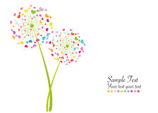 抽象五颜六色的心脏蒲公英春天传染媒介背景 库存图片