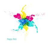 抽象五颜六色的愉快的Holi背景 颜色印地安节日的设计  免版税库存图片