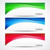 抽象五颜六色的波浪横幅集合 库存照片