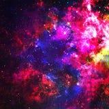 抽象五颜六色的空间背景 行星和星系的星在外层空间在一霓虹粉色 空间背景和纹理 库存例证