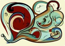 抽象五颜六色的背景,想象弯曲的形状在灰棕色的褐色绿色 图库摄影