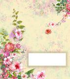 抽象五颜六色的花水彩绘画,有空间为 库存例证