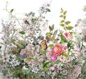 抽象五颜六色的花水彩绘画 多彩多姿的春天 皇族释放例证