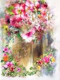抽象五颜六色的花水彩绘画 多彩多姿的春天 向量例证