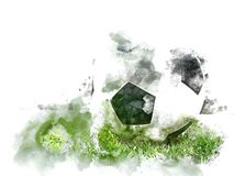 抽象五颜六色的足球或橄榄球球水彩油漆背景 免版税库存照片
