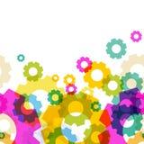 抽象五颜六色的齿轮形状样式 背景无缝的向量 免版税库存照片
