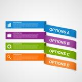 抽象五颜六色的3D丝带Infographic 免版税库存照片