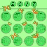 抽象五颜六色的3d纸蝴蝶日历2017年 免版税库存图片