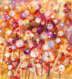 抽象五颜六色花卉,水彩绘画 手油漆白色, 免版税库存图片