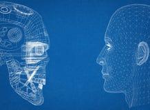 抽象人和机器人头 皇族释放例证