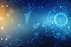 抽象人工智能 技术网背景,真正概念,未来派抽象背景 库存例证