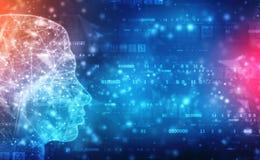 抽象人工智能 技术网背景 与二进制编码的人头概述 库存例证