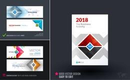 抽象传染媒介套现代水平的网站横幅 免版税库存照片