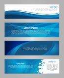 抽象传染媒介套4完全在蓝色颜色的横幅 皇族释放例证