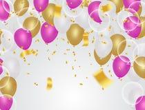 抽象传染媒介背景和传染媒介集会气球illustratio 免版税库存照片