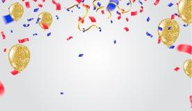 抽象传染媒介背景和传染媒介集会气球illustratio 免版税库存图片