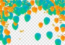 抽象传染媒介背景和传染媒介集会气球illustratio 库存照片