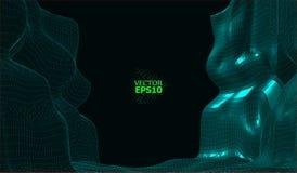 抽象传染媒介wireframe风景背景 网际空间栅格 3D导线框架围拢 3d技术wireframe传染媒介illustr 库存例证