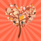 抽象传染媒介减速火箭的心形的树 免版税库存图片