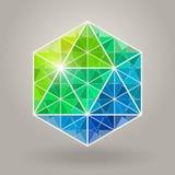 抽象传染媒介几何蓝绿色六角神圣的几何形状商标 库存照片