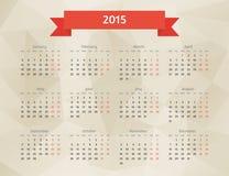 抽象传染媒介多角形日历 免版税库存照片