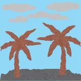 抽象传染媒介多角形棕榈和云彩 库存照片