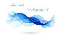 抽象传染媒介背景,蓝色透明挥动的线 蓝色烟通知 图库摄影