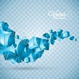 抽象传染媒介蓝色波浪立方体在透明背景设计 向量例证