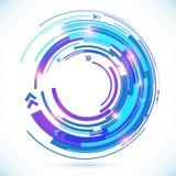 抽象传染媒介蓝色techno螺旋背景 免版税图库摄影
