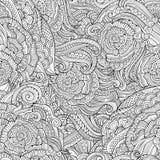 抽象传染媒介装饰手拉的自然花卉eamless样式 免版税库存图片